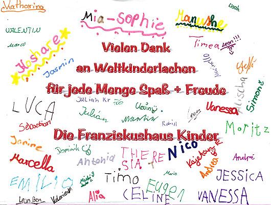 Weltkinderlachen Kinder Sagen Danke